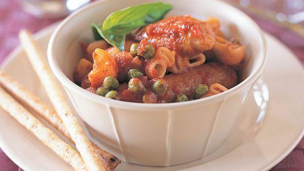 Sausage, pasta and peas