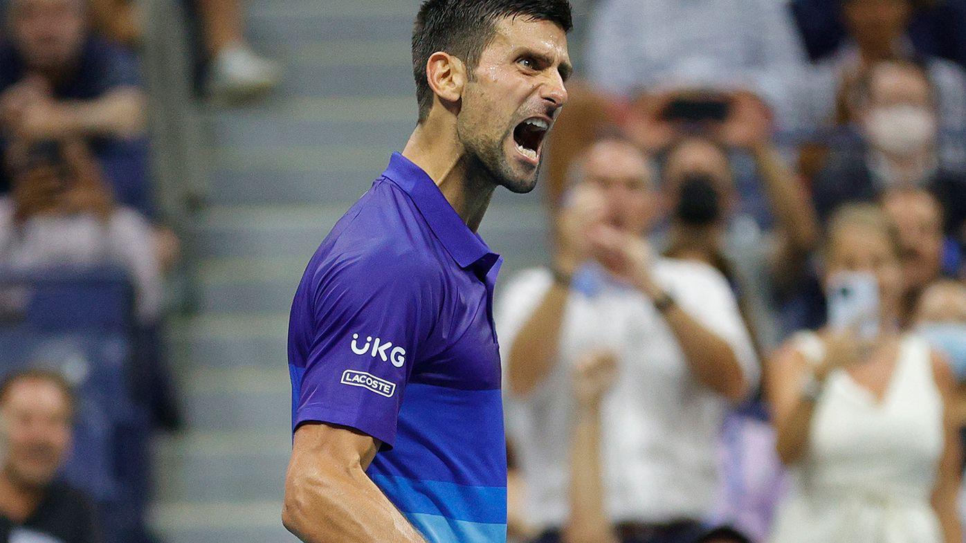 Novak Djokovic displays his frustration during his quarter-final win over Matteo Berrettini.
