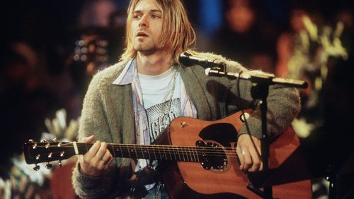 The guitar was one played by Cobain in his band Nirvana's MTV Unplugged performance in 1993. (Getty)