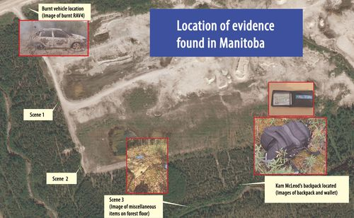 RCMP released this map and diagram, detailing key scenes and discoveries close to where the bodies of Kam McLeod and Bryer Schmegelsky were found.
