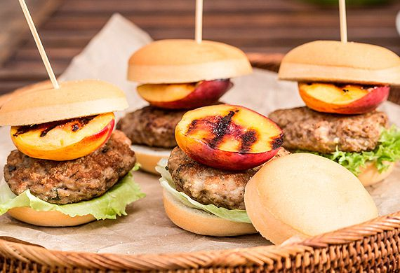 Pork and nectarine sliders
