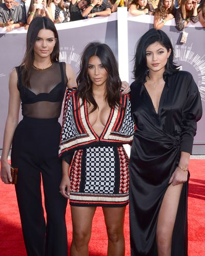 Kim Kardashian, Kendall Jenner and Kylie Jenner at the 2014 MTV Movie Awards