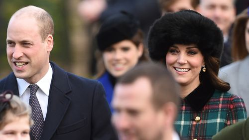 The Duke and Duchess of Cambridge arrive at the annual Christmas Day church service. (Joe Giddens/PA Wire)