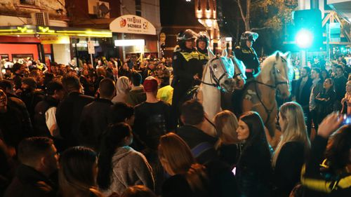 Mounted police watch over Tigers fans celebrating their team's victory.