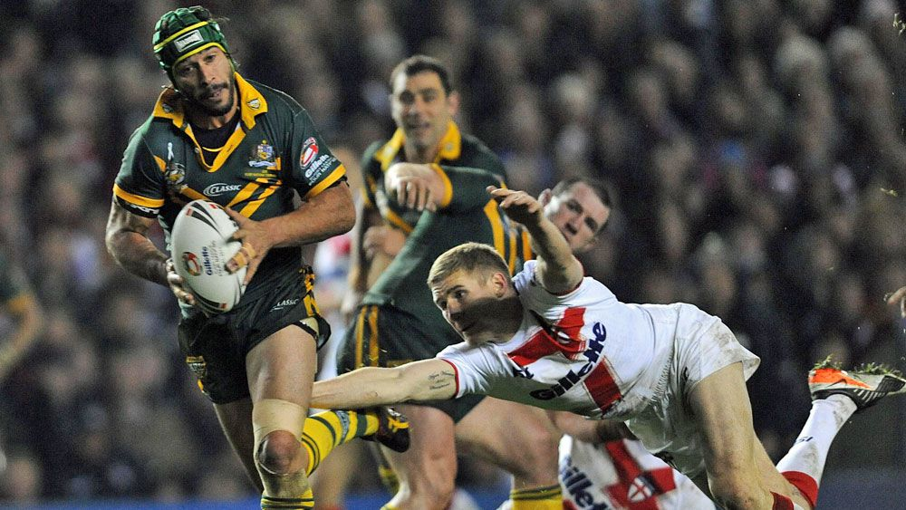 Johnathan Thurston in action for the Kangaroos against England. (AAP)