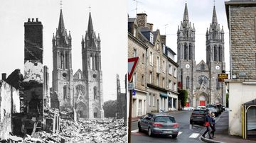 The twin steeples of St. Hilaire Du Harcouet's church in Normandy, France, on August 13, 1944 and a view of the same location on May 8, 2019.