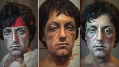 <b>Sylvester Stallone - Rocky</b> <p>Clearly a Stallone fan, this transformation into Rocky was one of Ms Pittalis' first, which she called her tribute to the action star.</p>