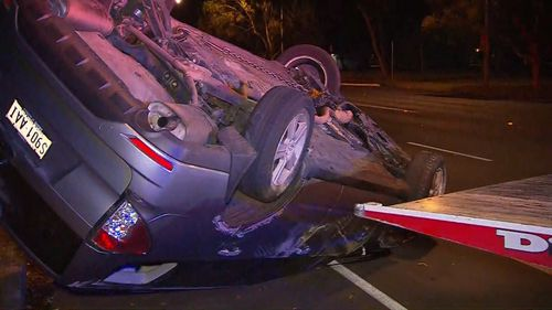The 4WD crashed during a pursuit. (9NEWS)