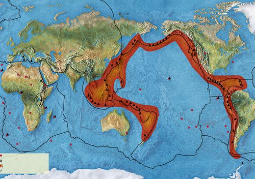 Map of the Pacific Ring of Fire, an area known for its intense seismic activity which extends from the west coast of the American continent to New Zealand, Japan, the Philippines and Indonesia.