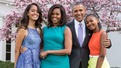Michelle and Barrack Obama with their daughters Sasha (left) and Malia.