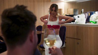 Alana cooks dinner for Jason while wearing lingerie