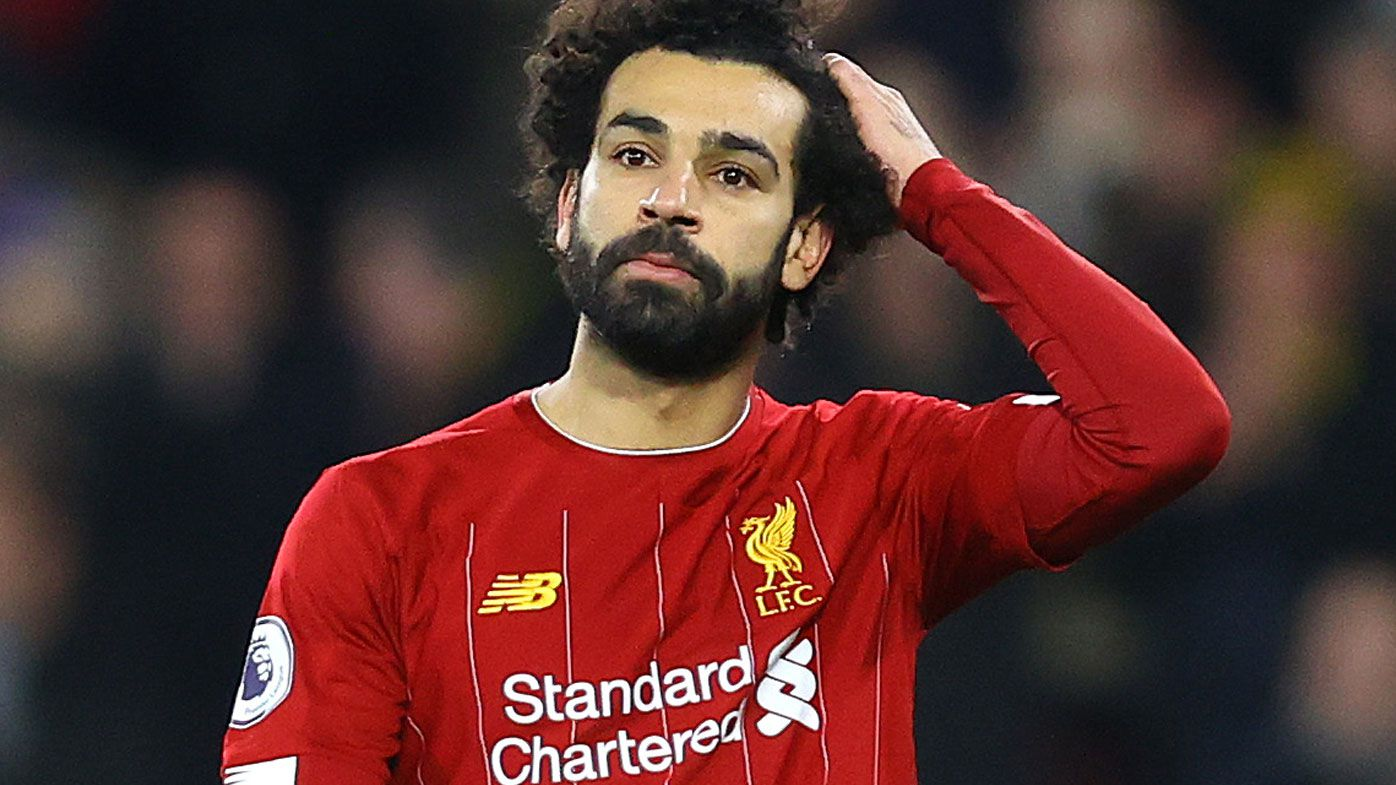 Mohamed Salah of Liverpool looks dejected