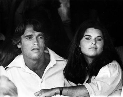 Arnold Schwarzenegger and Maria Shriver at the 6th Annual RFK Tennis Tournament in 1977.