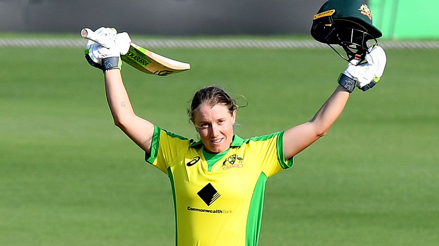 Alyssa Healy of Australia celebrates scoring a century