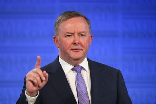 Australian Opposition Leader Anthony Albanese speaks at the National Press Club in Canberra.