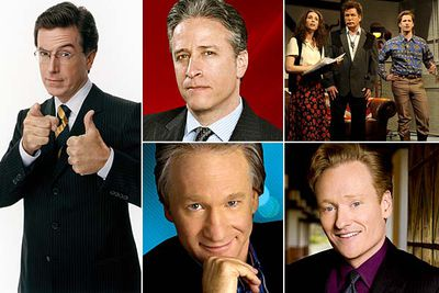 <I>The Colbert Report</I><br/><br/><I>The Daily Show with Jon Stewart</I><br/><br/><I>Saturday Night Live</I><br/><br/><I>Real Time With Bill Maher</I><br/><br/><I>Tonight Show with Conan O'Brien</I>