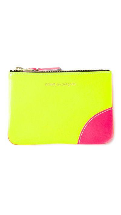 """<a href=""""http://www.farfetch.com/au/shopping/women/comme-des-garcons-wallet-new-super-fluo-zip-wallet-item-10985225.aspx"""" target=""""_blank"""">New Super Fluo Zip Wallet, $87.93, Comme Des Garçons</a>"""