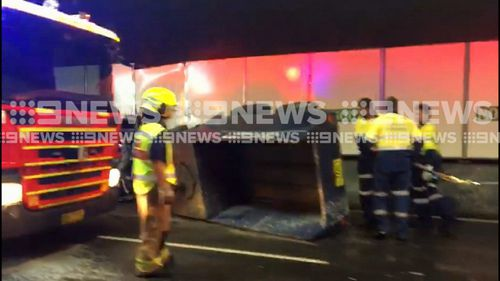 All northbound lanes were closed as authorities worked to clean up the spill. (9NEWS)