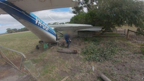 All four skydivers and the pilot walked away from the wreckage with no serious injuries.