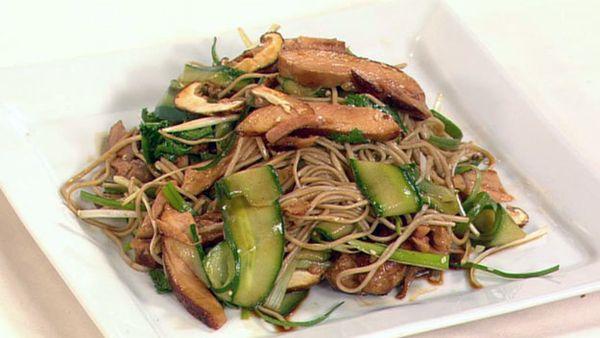 Teriyaki chicken with soba noodle salad