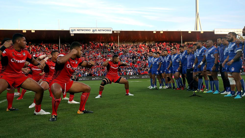 Tonga and Samoa light up Rugby League World Cup with simultaneous war dances