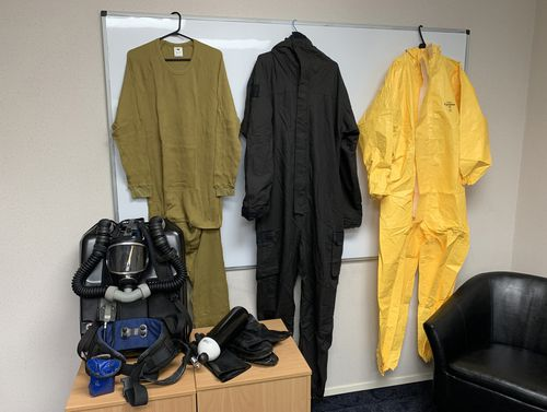 The protective gear worn during the recovery operation on Friday.