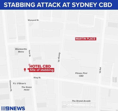 Map of Sydney stabbing, which occured near King and Clarence St.