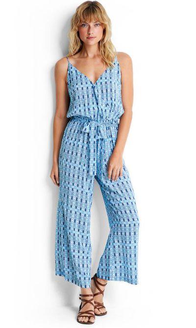"<a href=""http://www.seafolly.com.au/just-in/clothing/blue-bazaar-mini-print-jumpsuit.html"" target=""_blank"">Seafolly Blue Bazaar Mini Print Jumpsuit, $169.95.</a>"