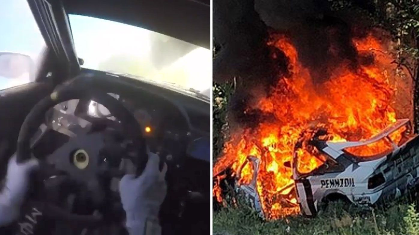 Rally driver Ken Block escapes fiery crash at New England Forest Rally