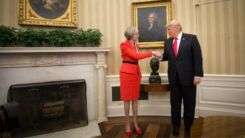 Theresa May and Donald Trump meet in the Oval Office. (AAP)