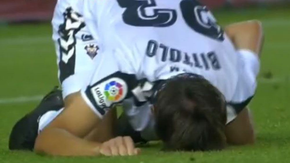 Argentine football player Mariano Bittolo requires stitches for eye-watering blow against SD Huesca