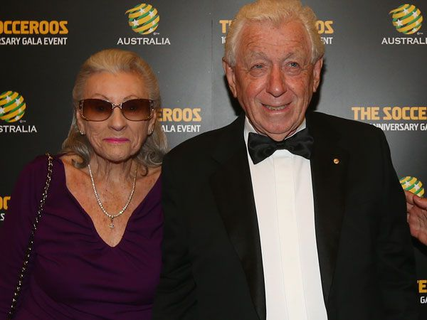 Outgoing FFA chairman Frank Lowy, with his wife Shirley. (Getty)
