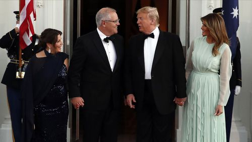 Scott Morrison and his wife Jenny meet with Donald Trump and his wife Melania.