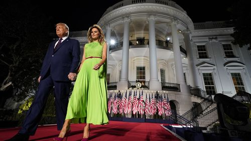 Donald Trump at the White House with his current wife Melania.