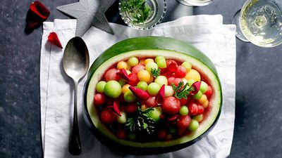 "<a href=""http://kitchen.nine.com.au/2016/05/16/13/23/philippa-sibley-melon-balls-with-rose-geranium-leaves"" target=""_top"">Philippa Sibley's melon balls with rose geranium leaves</a><br /> <br /> <a href=""http://kitchen.nine.com.au/2016/12/02/10/16/fresh-festive-recipes-for-entertaining"" target=""_top"">More festive 'bring a plate' recipes</a>"