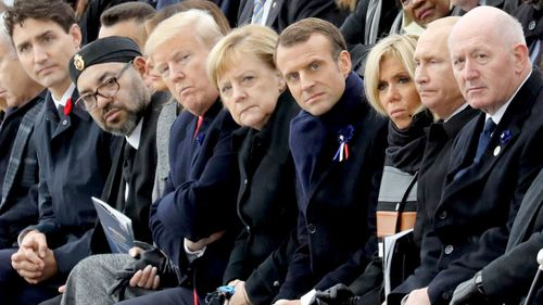 Canadian Prime Minister Justin Trudeau, Moroccan King Mohammed VI, US President Donald Trump, German Chancellor Angela Merkel, French President Emmanuel Macron and his wife Brigitte Macron, Russian President Vladimir Putin and Australian Governor-General Peter Cosgrove.