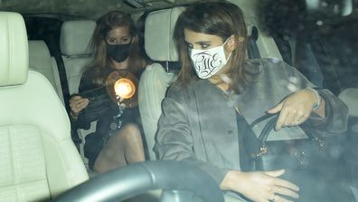 Princess Beatrice and Princess Eugenie seen on a night out at Annabel's members club in Mayfair on September 22, 2020 in London