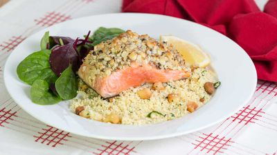 "Recipe:<a href=""http://kitchen.nine.com.au/2016/12/20/10/52/lyndey-milans-macadamia-crusted-salmon-with-macadamia-couscous"" target=""_top""> Lyndey Milan's macadamia crusted salmon with macadamia couscous</a>"