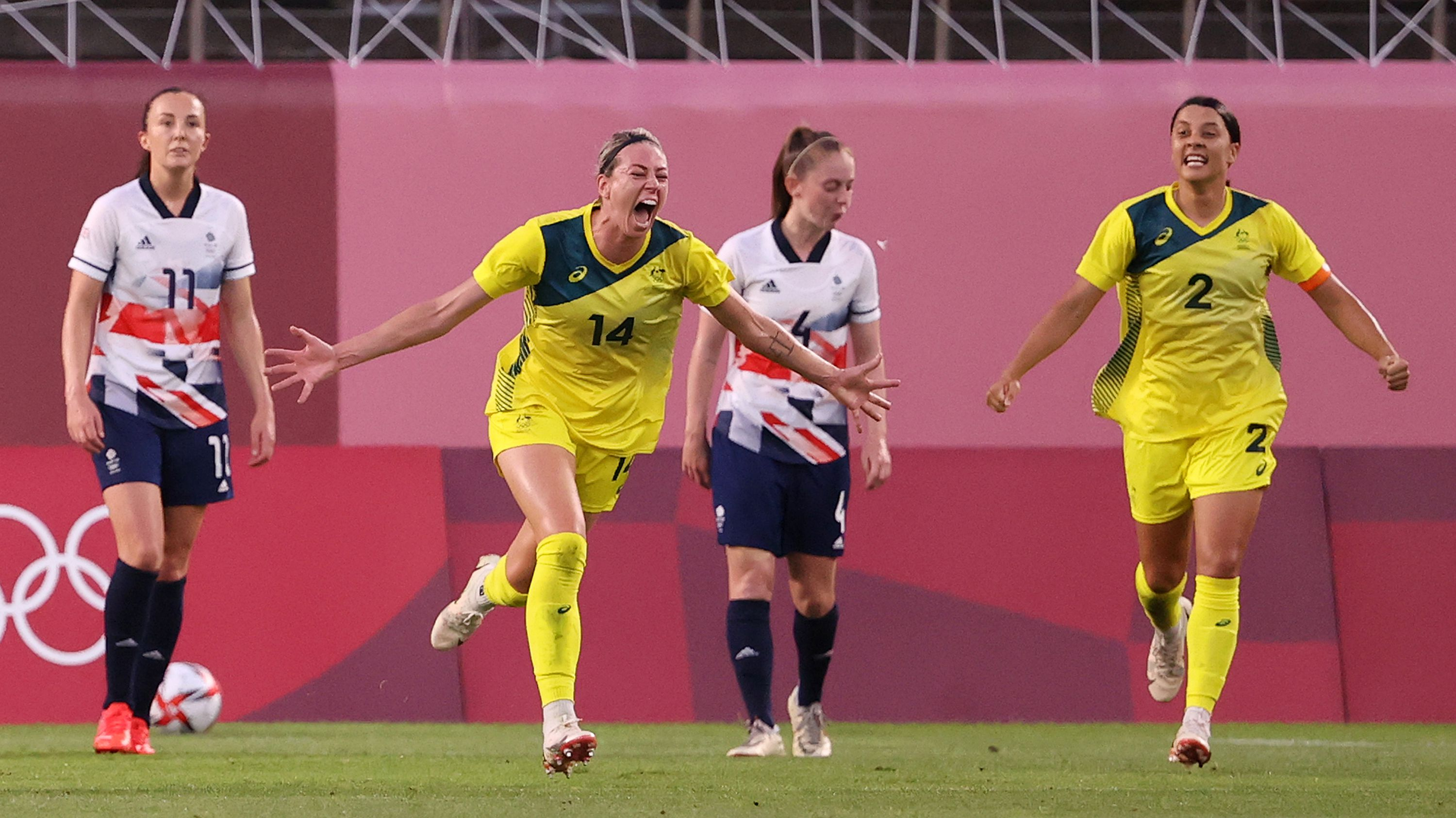 Mayhem as Matildas beat Great Britain in extra-time thriller to book a spot in Olympic semi-finals