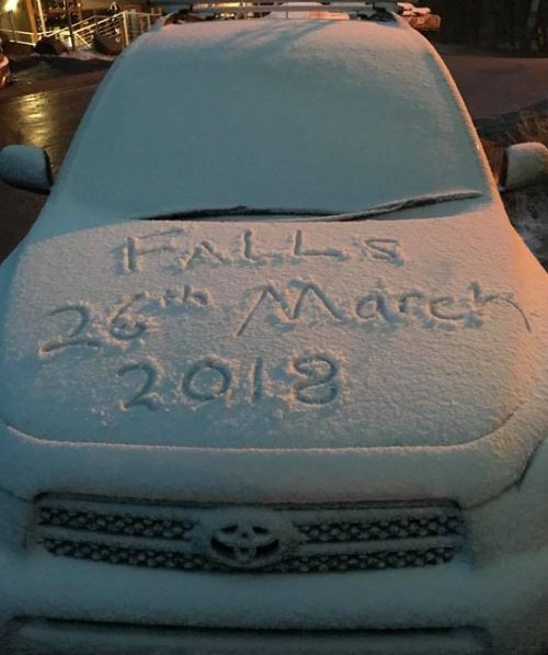 The first snow of the year was heralded at Falls Creek in Victoria.