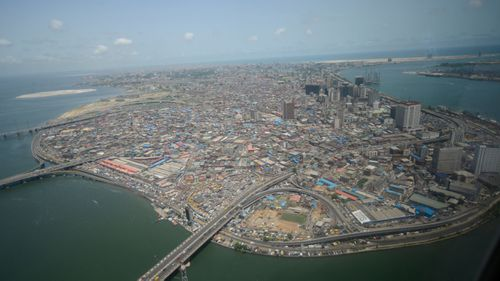 Aerial view of Lagos Island in Lagos, the commercial capital of Nigeria.