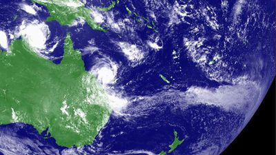 <p> Australia's north is under assault from separate cyclones barrelling down on two different fronts. </p><p>  For residents and emergency crews on the ground, tropical cyclones Marcia and Lam are creating scenes of utter chaos. </p><p>  Yet from above, with a God's eye view, the partnered storm systems paint a serene and peaceful dance. </p><p> Take a look through for how the awesome, destructive ballet will play out. </p><p></p>