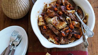 """Recipe:&nbsp;<a href=""""http://kitchen.nine.com.au/2016/05/16/17/44/braised-pork-ragu-with-porcini-and-muscat"""" target=""""_top"""" draggable=""""false"""">Braised pork ragu with porcini and muscat</a>"""