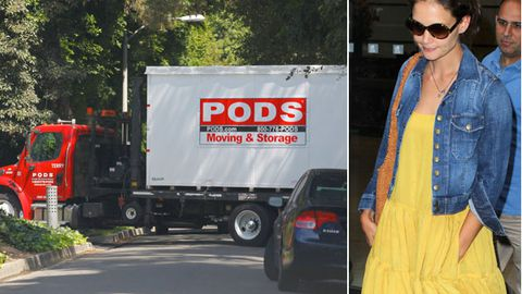 Moving out, Katie? Removal trucks spotted at Tom Cruise's home