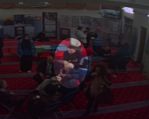 CCTV footage at the mosque showed John Murphy approach Jeremy Corbyn and appear to smash an egg over the Labour leader's head.