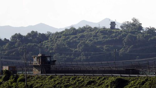 Opposing sentry posts separating North and South Korea.