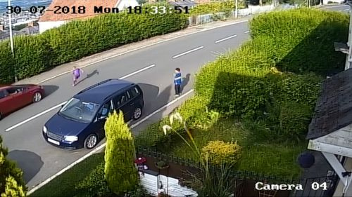 The CCTV footage shows the boy run out from behind a parked car into the path of the moving vehicle.
