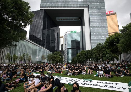 """Protesters take part in a school boycott rally at Tamer Park in Central district on September 2, 2019 in Hong Kong, on September 02, 2019 in Hong Kong.Hong Kong's embattled leader Carrie Lam has apologised for introducing the bill and declared it """"dead"""", however the campaign continues to draw large crowds to voice their discontent while many end up in violent clashes with the police as protesters show no signs of stopping."""
