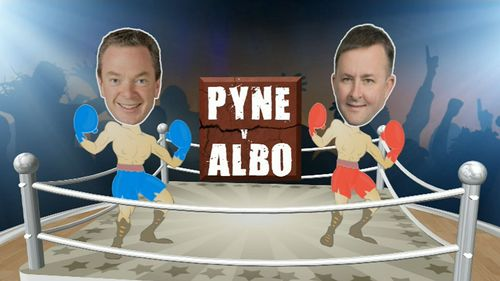 Christopher Pyne and Anthony Albanese go head-to-head over the AWU raids tip off.