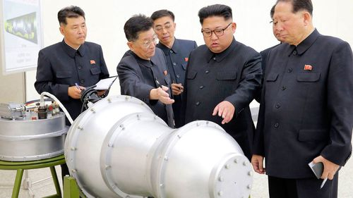 Kim, pictured during a weapons inspect last year.